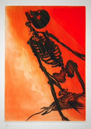 Frank Boyden, The Transcendence of Uncle  Skulky 2003, framed drypoint, spitbite;  3 copper plates