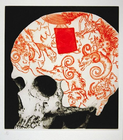 Frank Boyden, The Possession of Uncle Skulky 2003, framed drypoint, aquatint; 2 copper plates, one wiped a la poupee