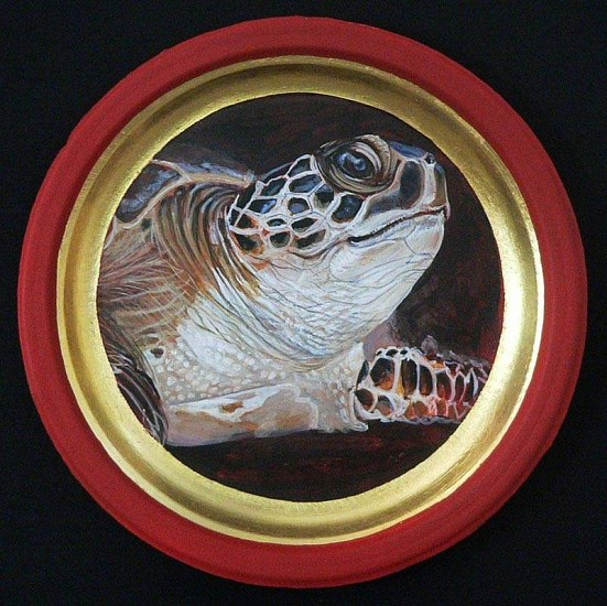 Mary Frances Dondelinger, Sea Turtle, Threatened 2013, egg tempera, 23 c. gold, acrylic