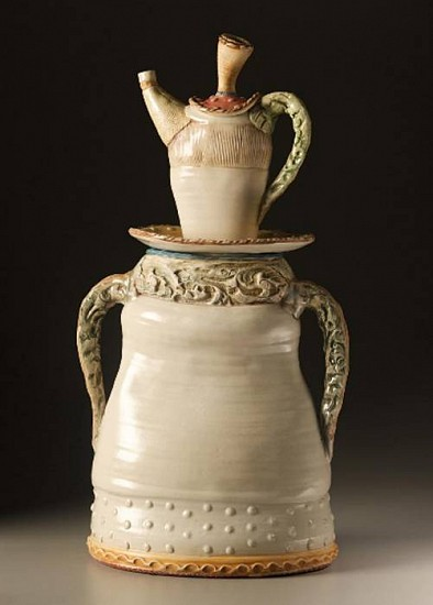 Gina Freuen, Baroque Handled Jar  with Teapot Companion 2008, white stoneware