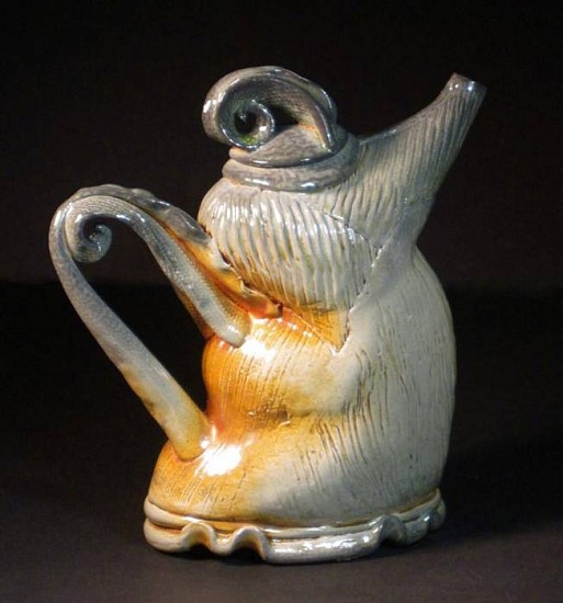 Gina Freuen, Gestured Teapot with Petals 2010, soda and wood fired porcelain/stoneware blend