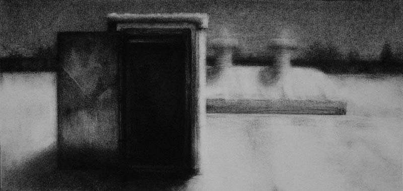 Elaine Green, Rooftop #1 2007, charcoal