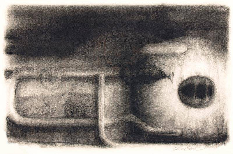 Elaine Green, In an Effort to Control: Orb 2008, unframed -charcoal on paper