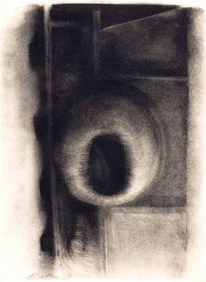 Elaine Green, In an Effort to Control: Orifice 2008, unframed -charcoal on paper