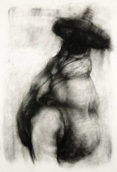 Elaine Green, In an Effort to Control: Swallow 2008, charcoal on paper