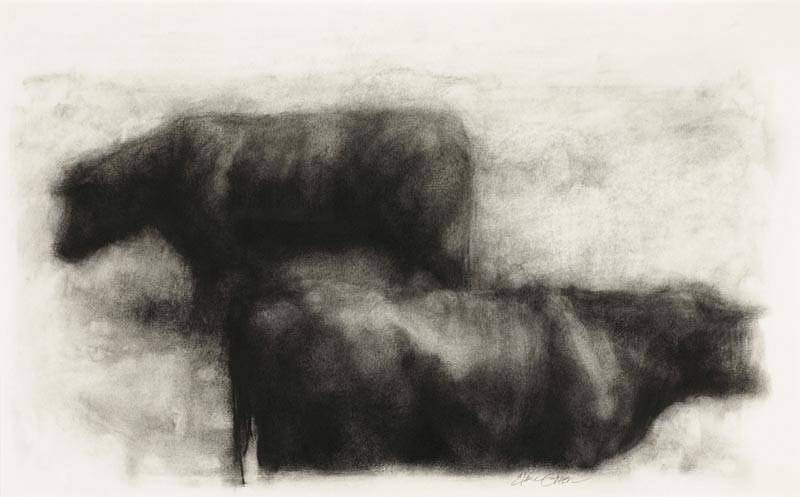 Elaine Green, Numbered and Pegged 2008, charcoal on paper