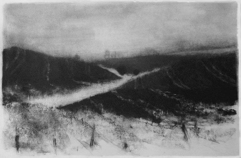 Elaine Green, Field Burn IV 2009, charcoal on rives bfk paper