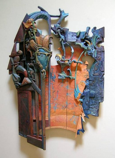 Robert Grimes, Flowers of Chance 2007, oil on carved wood construction