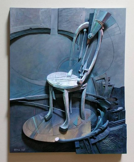 Robert Grimes, Spin the Chair 2007, oil on wood construction