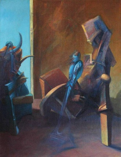 Robert Grimes, Interior with Blue Bird 1981, oil on canvas