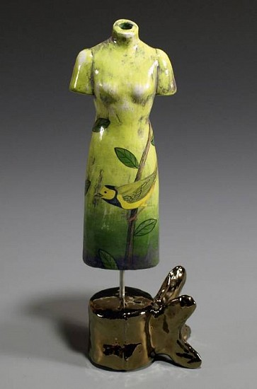Marilyn Lysohir, Tattooed Dress  with Yellow Bird clay