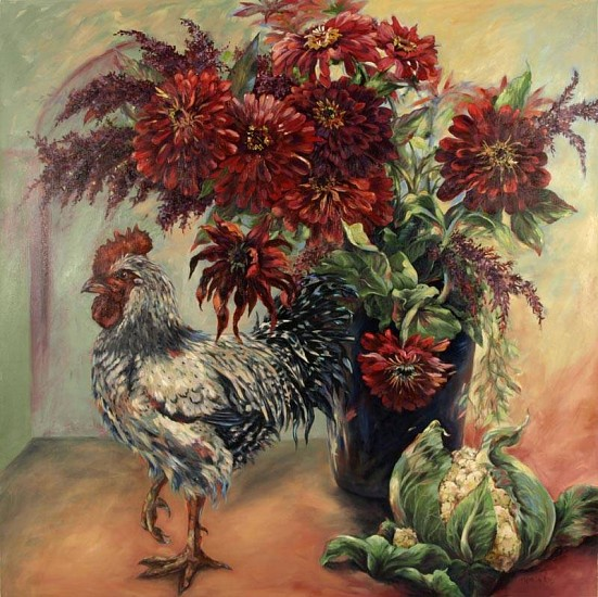 Kay O'Rourke, Still Life with Rooster & Zinnias oil on canvas