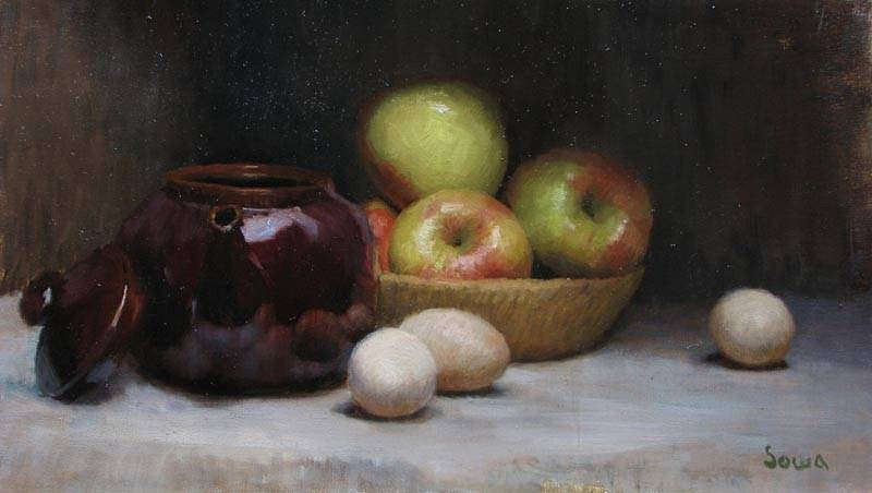 Nathan Sowa, Apples and Eggs 2011, oil on linen
