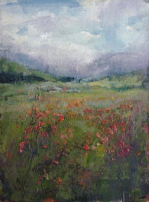 Don Ealy, Red Flowers in a Field oil