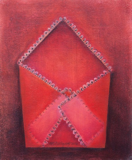 Allie Kurtz Vogt, Cross My Red 2016, oil, aqaba paper, pigmented wax, oil pencil on canvas