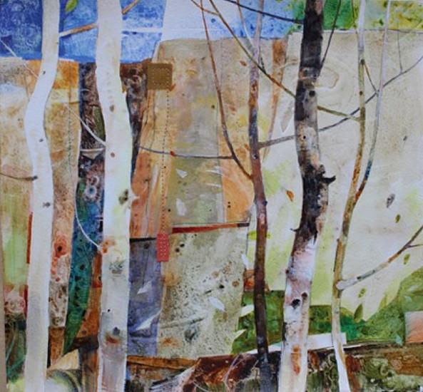 Nancy Halter, Woodland Waltz 2016, acrylic on rag paper with silk and thread