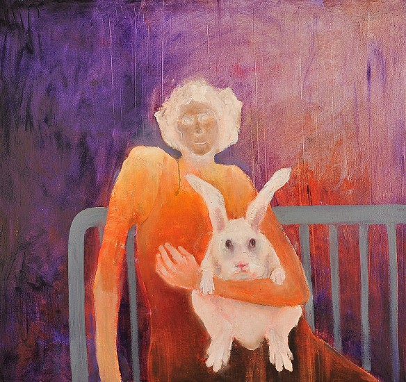 Mel McCuddin, Hugging a Rabbit 2017, oil