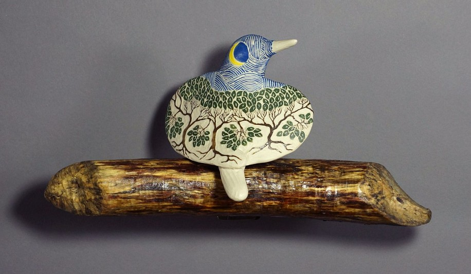 Cathy Weber, Carved Forest (moon) Bird (right) porcelain