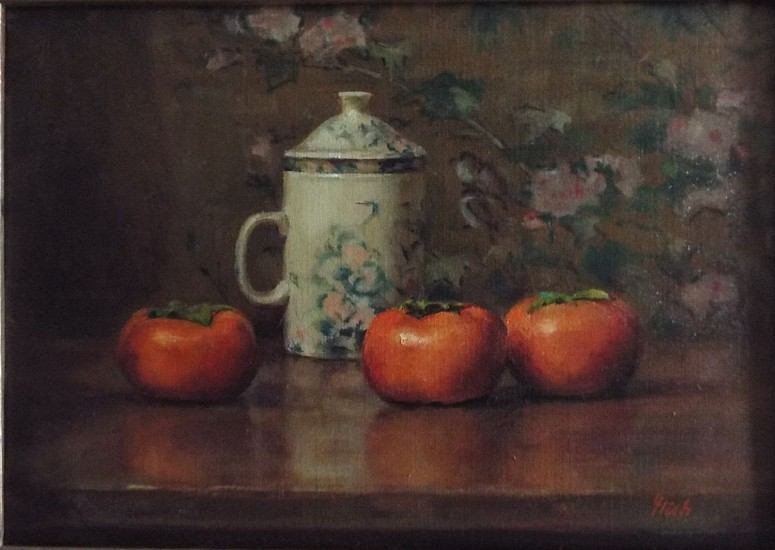 Del Gish, Persimmons 2018, oil on canvas