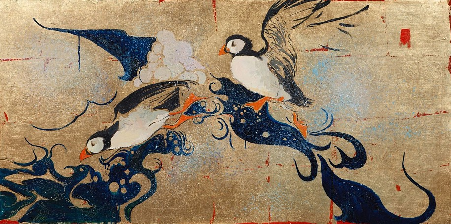 Shannon Troxler, Puffin Parade 2013, oil on gold leaf
